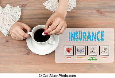 Insurance. Coffee cup top view on wooden table background