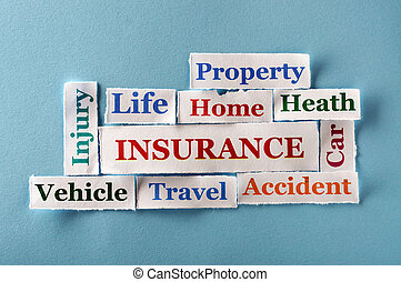 insurance Word Cloud printed on paper on blue font