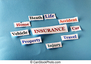 insurance collage - insurance Word Cloud printed on paper on...