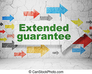 Insurance concept: arrow with Extended Guarantee on grunge wall background