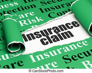 Insurance concept: black text Insurance Claim under the piece of torn paper
