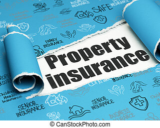 Insurance concept: black text Property Insurance under the piece of torn paper