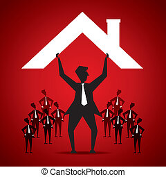 insurance concept - leader secure his team cover by house...