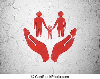Insurance concept: Family And Palm on wall background - ...