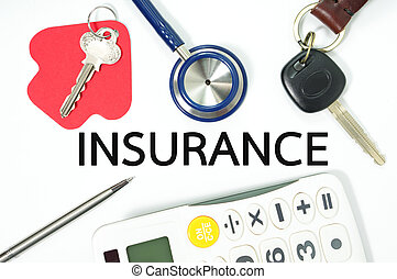 Insurance concept for home car health and life insurance with calculator