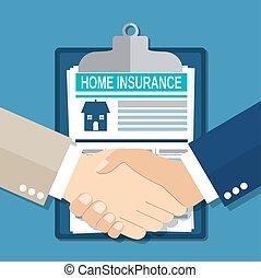 Insurance concept handshake.