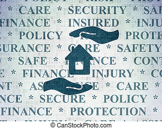 Insurance concept: House And Palm on Digital Data Paper background