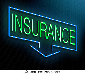 Illustration depicting an illuminated neon sign with an insurance concept.