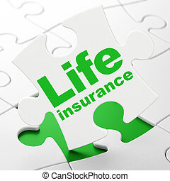 Insurance concept: Life Insurance on puzzle background