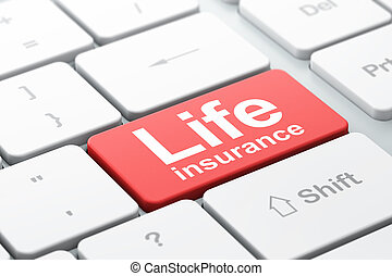 Insurance concept: Life Insurance on computer keyboard background