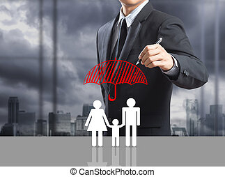 Insurance concept - Business man drawing insurance concept