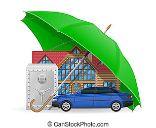 insurance concept protected umbrella illustration