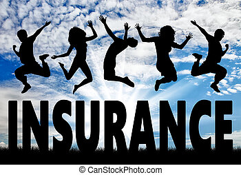 Silhouette people jumping over the word insurance - ...