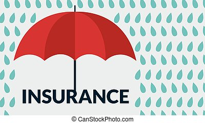 Insurance concept, Vector umbrella under rain drops