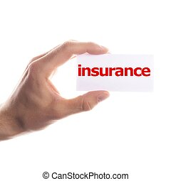 insurance concept with hand word an paper