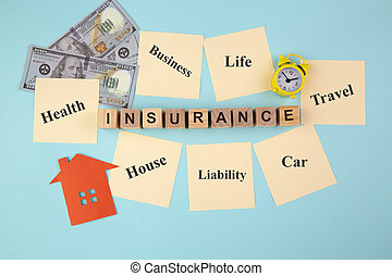 INSURANCE concept with yellow sticky notes