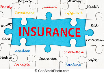 Insurance concept word cloud on group of jigsaw puzzle...
