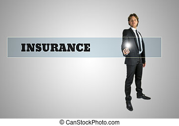 Insurance concept - Young businessman activating Insurance...