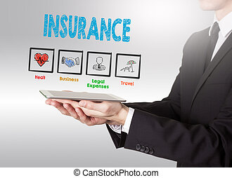 Insurance concept, young man holding a tablet computer