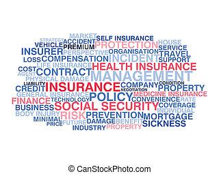 insurance., concetto, parola, nuvola