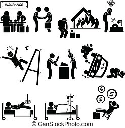 A set of pictograms representing the type of coverage by insurance company.