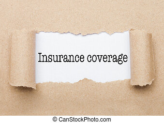 Insurance coverage text appearing behind paper