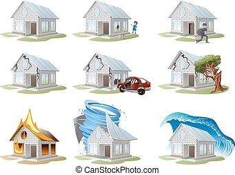 insurance., daheim, eigenschaft, versicherung