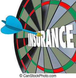 Insurance Dart Board Word Choosing Best Policy Plan Coverage
