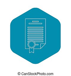 Insurance document icon, outline style