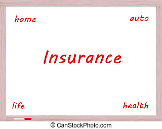 Insurance Dry Erase Board Concept with auto, life, health...