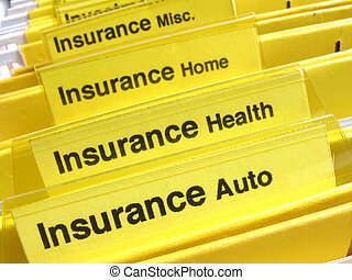 Insurance folders - Yellow folders show different types of...