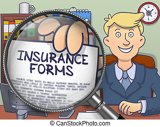 Insurance Forms through Lens. Doodle Style.