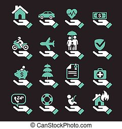 Insurance hand icons set.