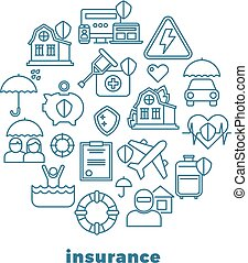 Insurance home and property line vector icons in circle design