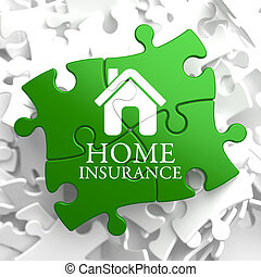 Insurance - Home Icon on Green Puzzle.