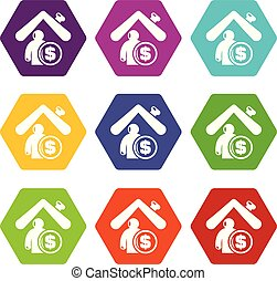 Insurance home icons set 9 vector