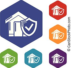 Insurance home icons vector hexahedron