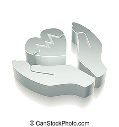 Insurance icon: 3d metallic Heart And Palm with reflection, vector illustration.