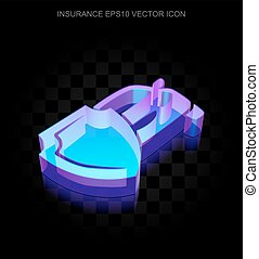 Insurance icon: 3d neon glowing Car And Shield made of glass, EPS 10 vector.