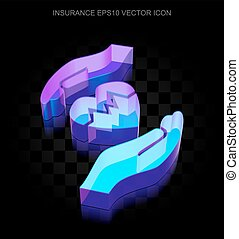 Insurance icon: 3d neon glowing Heart And Palm made of glass, EPS 10 vector.