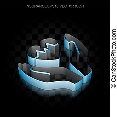 Insurance icon: Blue 3d Heart And Palm made of paper, transparent shadow, EPS 10 vector.