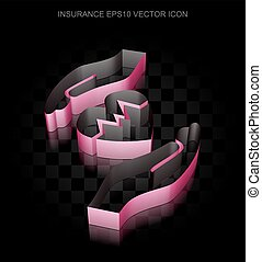 Insurance icon: Crimson 3d Heart And Palm made of paper, transparent shadow, EPS 10 vector.