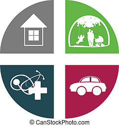 Insurance Icon Cross Set With House, Health Care, Family and...