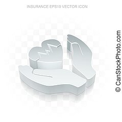 Insurance icon: Flat metallic 3d Heart And Palm, transparent shadow, EPS 10 vector.