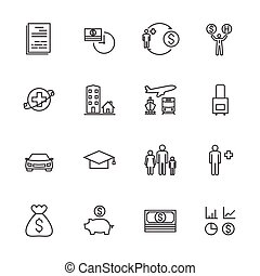 Insurance icon set. Line icons