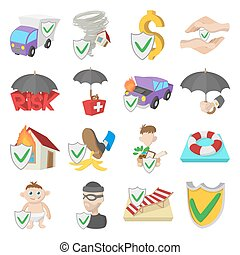 Insurance icons set, cartoon style