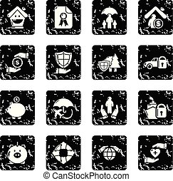 Insurance icons set grunge vector