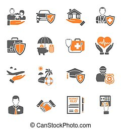 Insurance Icons Set - Insurance services two color icon Set...