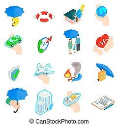 Insurance Icons set, isometric 3d style