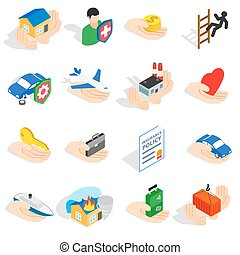Insurance icons set, isometric 3d style